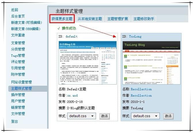 网站主题样式管理页面
